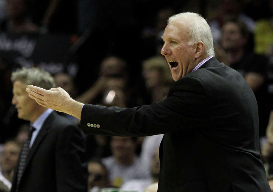 San Antonio Spurs coach Gregg Popovich gestures during the first half of game two of the NBA Western Conference Finals in San Antonio, Texas on Tuesday, May 29, 2012. Photo: Kin Man Hui, San Antonio Express-News / © 2012 San Antonio Express-News