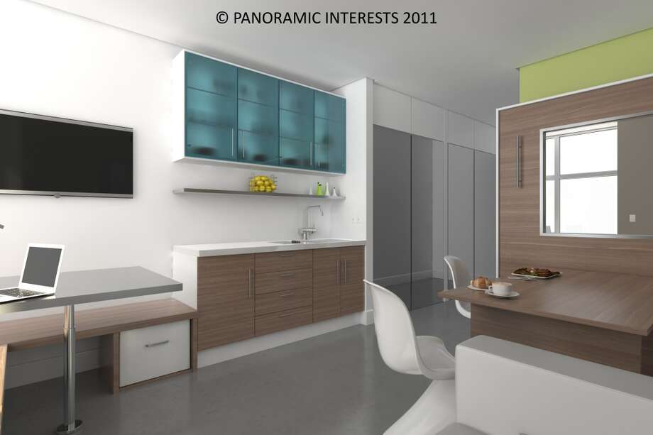 The units on Mission Street, planned for 2014 availability, have a streamlined, cruise ship cabin look. (SMARTSPACE)