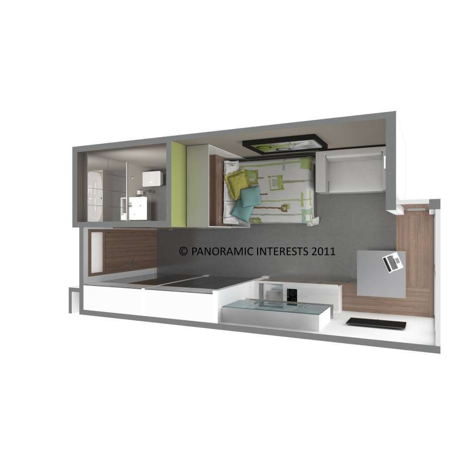 This overhead view shows how neatly everything fits into the tiny space. (SMARTSPACE)