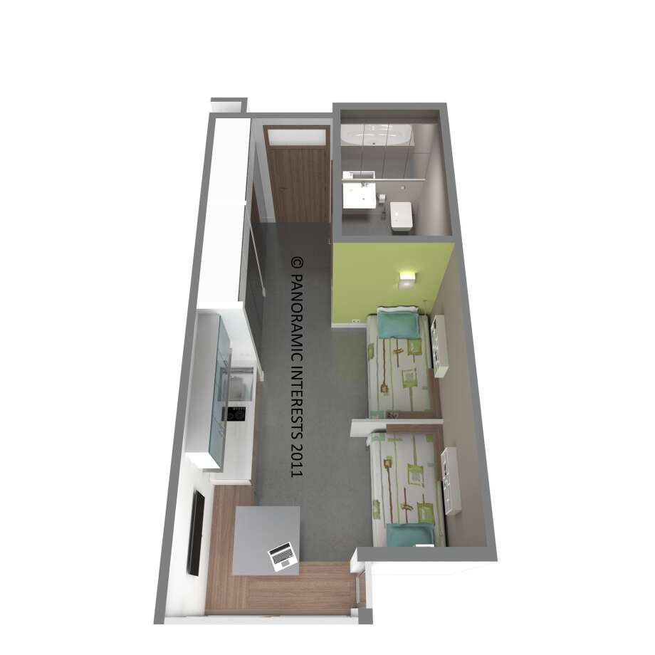 The units can also be configured with two twin beds. (SMARTSPACE)