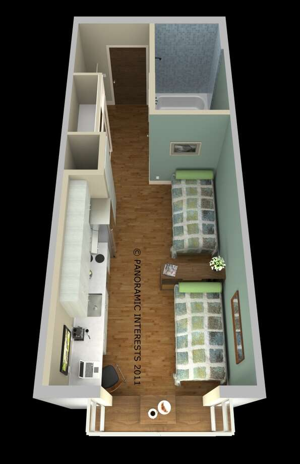 Overhead view of the twin bed option. (SMARTSPACE)