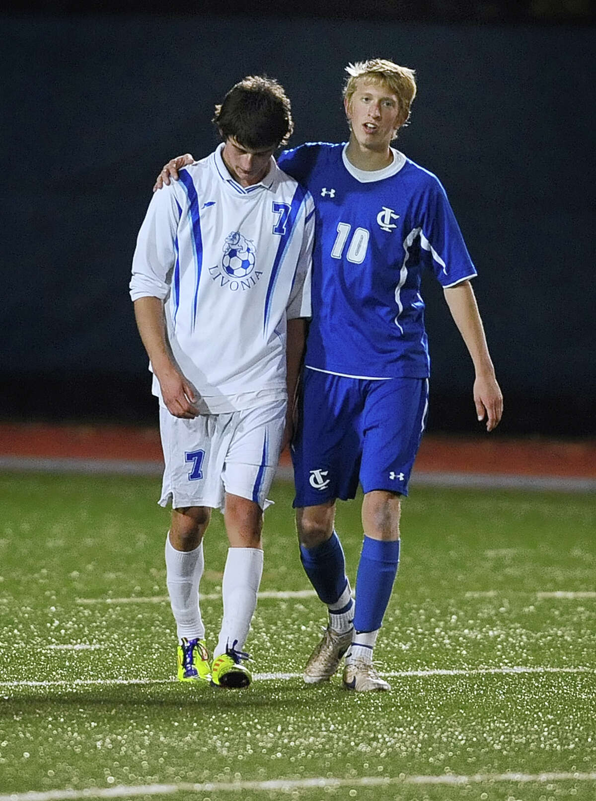 Ichabod Crane's Livonia's during Class B NYSPHSAA Boys Soccer Championship game played at Middletown High School on Sunday, November 18, 2012. After a scoreless regulation and 30 minutes of overtime, Ichabod Crane and Livonia (Section 5) were named class B co-champions. (Adrian Kraus / Special to the Times Union)