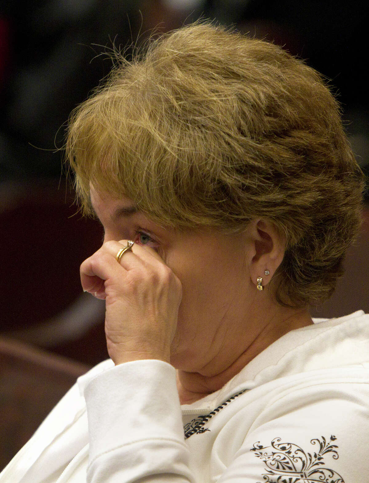 Patty Sparks wipes her eye after Jessica Tata was sentenced to 80 years in prison Tuesday, Nov. 20, 2012, in Houston. Tata was sentenced after a Feb. 24, 2011 home day care fire killed four toddlers. (Cody Duty / Houston Chronicle) I was satisfied to hear the amount of years,