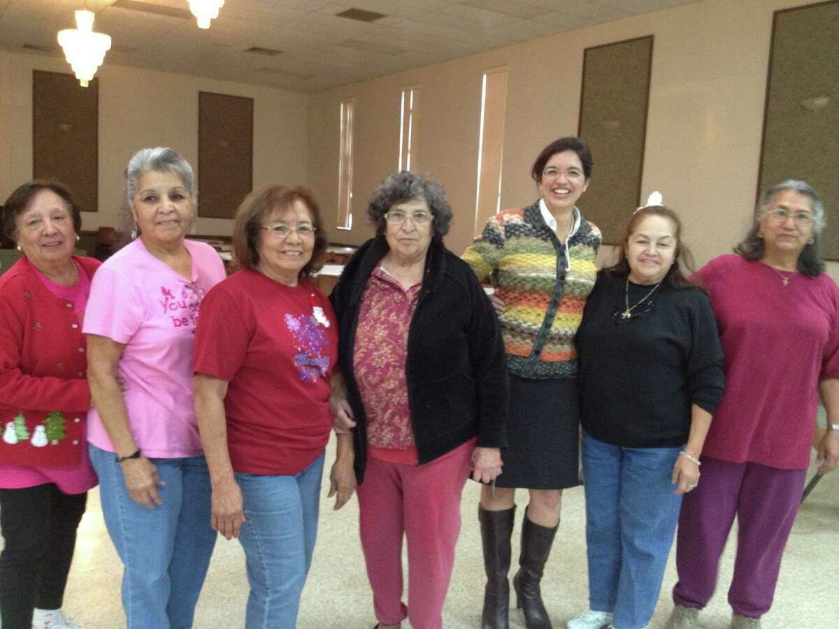 Area seniors recently enjoyed a pre-Thanksgiving dance with District 3 Councilwoman Leticia Ozuna (third from right) on Nov. 12 at St. Margaret Mary's activity center.