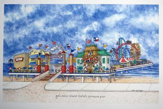 Pleasure Island Pier as rendered by architect turned artist Don Springer.  Photo By R. Clayton McKee Photo: R. Clayton McKee, Freelance / ©2012 R. Clayton McKee
