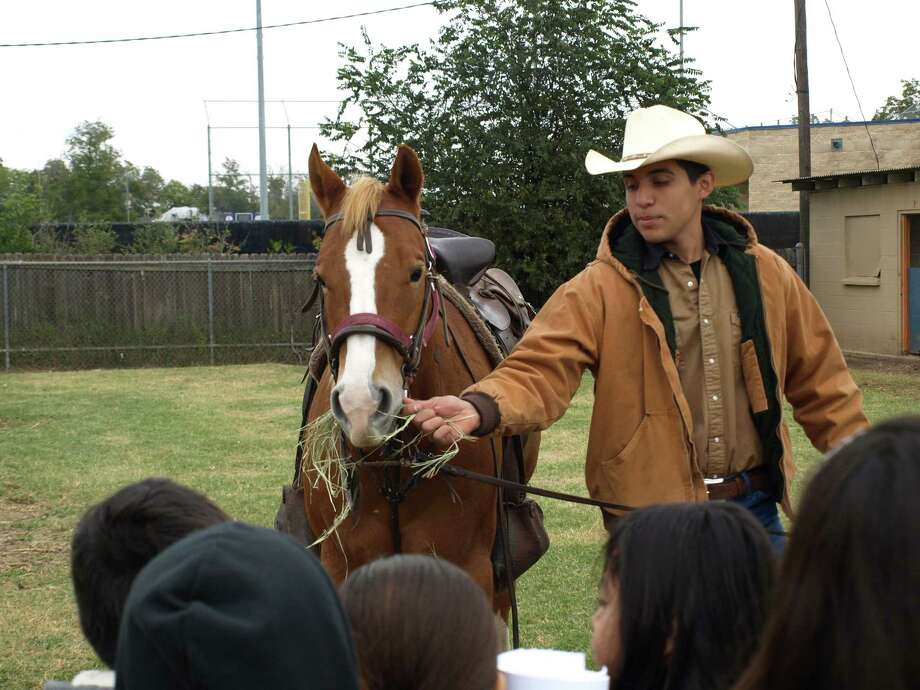 Miguel Villarreal shows off his horse to a group of students at Burbank High SchoolÕs Ag in the City event Nov. 15. Photo: Mark D. Wilson/ Southside Report