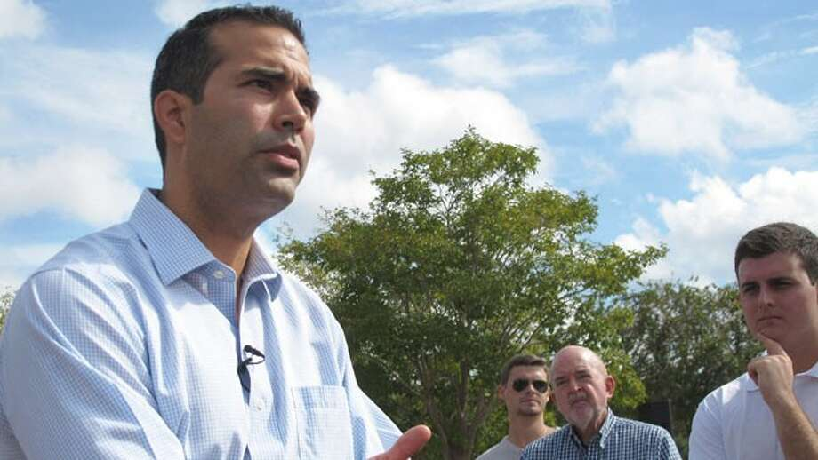 George P. Bush speaks with Florida State University students before beginning a bus tour in Tallahassee, Fla., Sept. 17, 2012.