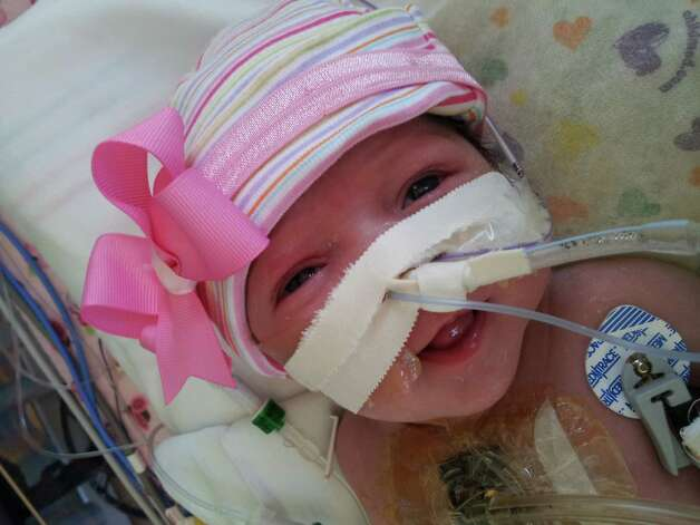A baby girl who was born with her heart outside of her body is defying the odds and recovering after lifesaving surgery at Texas Children's Hospital, where she was born five weeks ago. Audrina Cardenas' condition was discovered during an ultrasound 16 weeks into her mother's pregnancy. The mother, from Midland, Texas, was referred to Texas Children's, where a team of doctors worked together on her care after she was born. Photo: Texas Children's Hospital