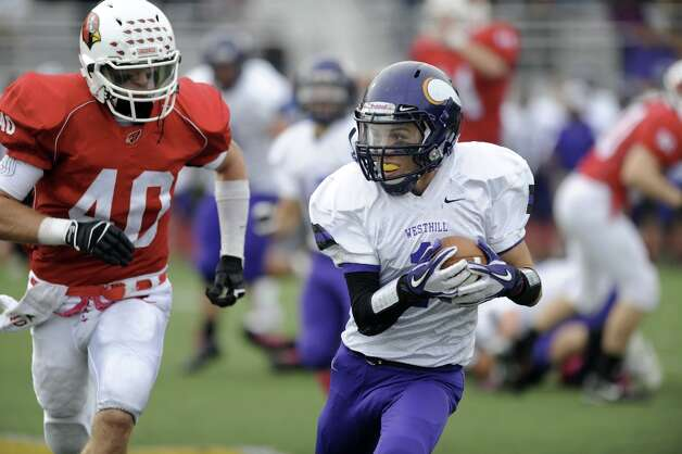 Saturday's football game against Greenwich High School at Westhill High School on October 27, 2012. Photo: Lindsay Niegelberg / Stamford Advocate