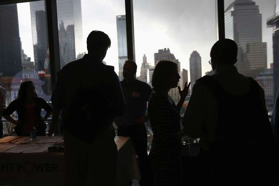 """5. New York:""""New York has established itself as a serious alternative to (Silicon Valley) for startups in the consumer space and those focusing on e-commerce, advertising, media and fashion. However, it has long way to go to truly catch up with SV, with about the half number of startups as SV."""" Here, job applicants meet potential employers at the NYC Startup Job Fair on September 28, 2012 at 7 World Trade Center in New York. More than 80 startup companies were represented, with some 600 job openings for the more than 1,000 applicants who attended the event. Photo: John Moore, Getty Images / 2012 Getty Images"""