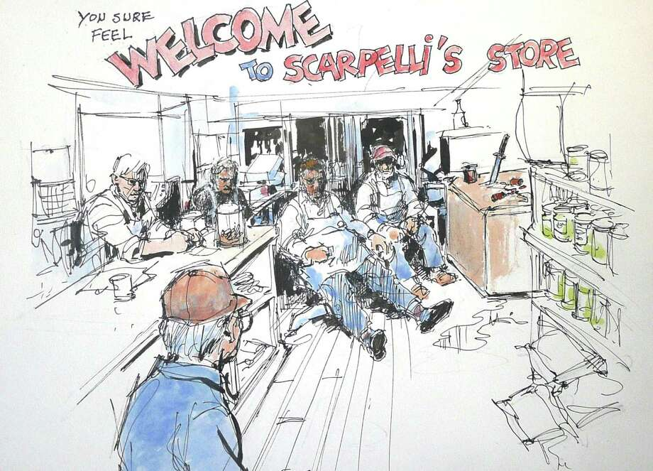 Artist and customer Bob Fugitani captures the essence of Peter 'Mac' Scarpelli's Cos Cob sausage store in this illustration. Scarpelli is seated front and center, with his nephew Jerry Servidio. At left are store helpers Paul Peacock with Jim Mullen. Entering the store is the artist, Fugitani. Photo: Contributed Photo