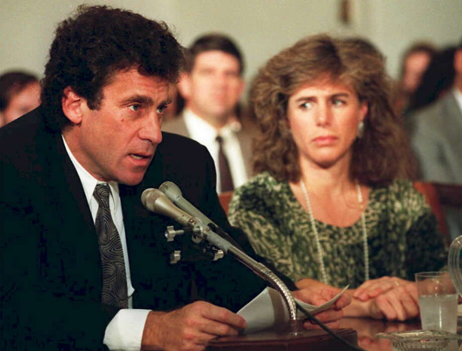 U.S. actor Paul Michael Glaser (left) and his wife Elizabeth testify in Washington before the House Budget Committee's Task Force on Pediatric AIDS in 1990. Elizabeth Glaser, who co-founded the Pediatric AIDS Foundation, contracted AIDS from a 1981 blood transfusion and died in 1994. Photo: FILE, AFP/Getty Images / AFP