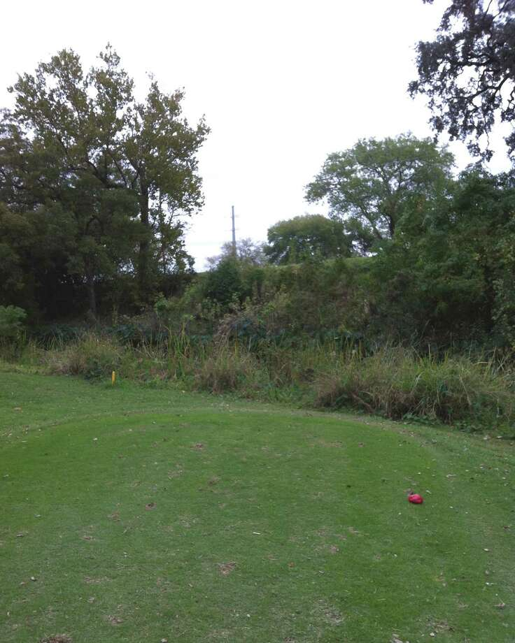 The tee shots on No. 10 at Landa Park Golf Course in New Braunfels must clear the cliff along a branch of the Comal River to reach the fairway.