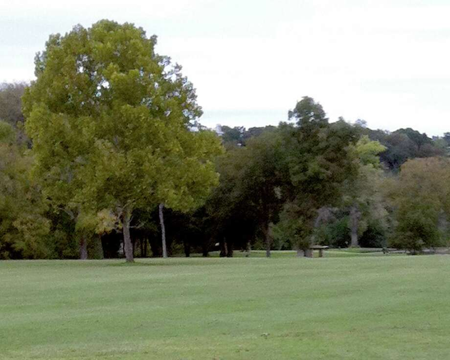 A large tree guards the left side of the approach to the No. 2 green at Landa Park Golf Course in New Braunfels.