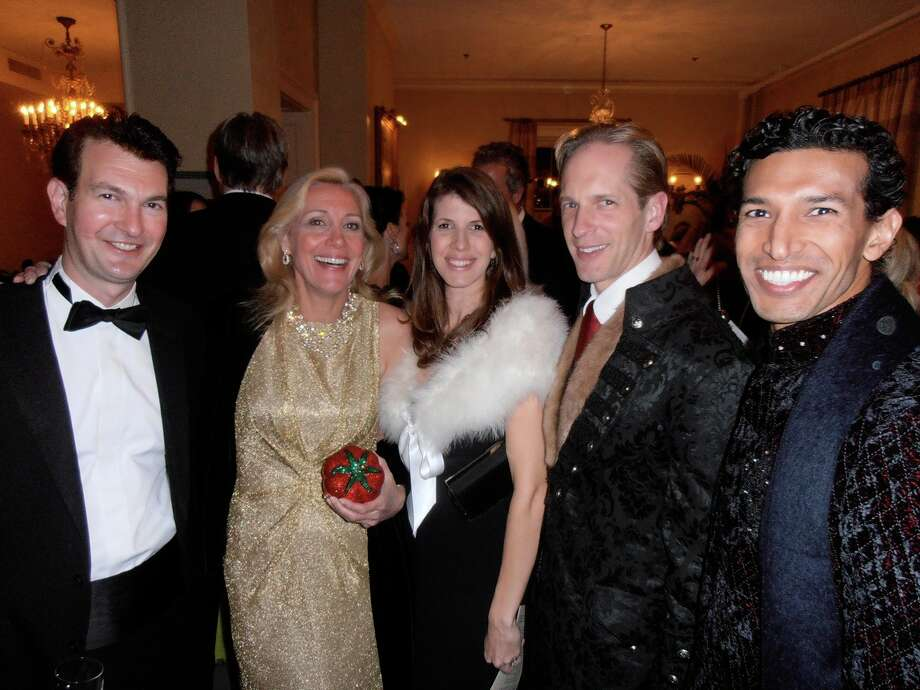 Showing their finery at the Mind Science Foundation  Night of Mystery  gala were Curtis Johnson, from left, Anita Sweeney, Jeanie Crumpton, Leland Stone and board member Suhail Arastu. Photo: Nancy Cook-Monroe