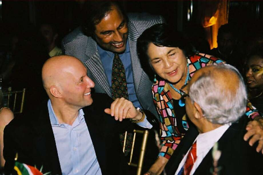 From left, Mouli Cohen and Hari Dillon hobnob with farmworkers' rights icon Dolores Huerta and South African antiapartheid activist Ahmed Kathrada at a Vanguard Foundation gala. Photo: Courtesy Of Hari Dillon