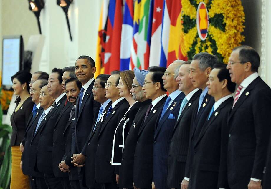 President Obama (center left) stands with other leaders at the Peace Palace in Phnom Penh. The East Asia Summit brought together the 10 ASEAN countries, plus eight other nations. Photo: Tang Chhin Sothy, AFP/Getty Images