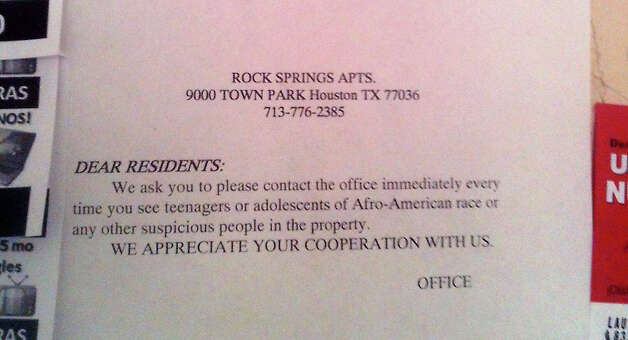 The notice on a bulletin board at Rock Springs Apartments. The notice is written in Spanish as well as English. Photo: Robert Stanton/Chronicle