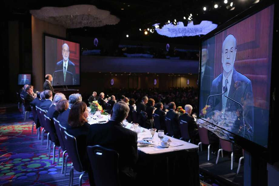 """Federal Reserve Chairman Ben Bernanke addresses the Economic Club of New York on Tuesday. """"If the economy goes off the broad fiscal cliff, I don't think the Fed has the tools to offset that,"""" Bernanke said. Photo: John Moore, Staff / 2012 Getty Images"""