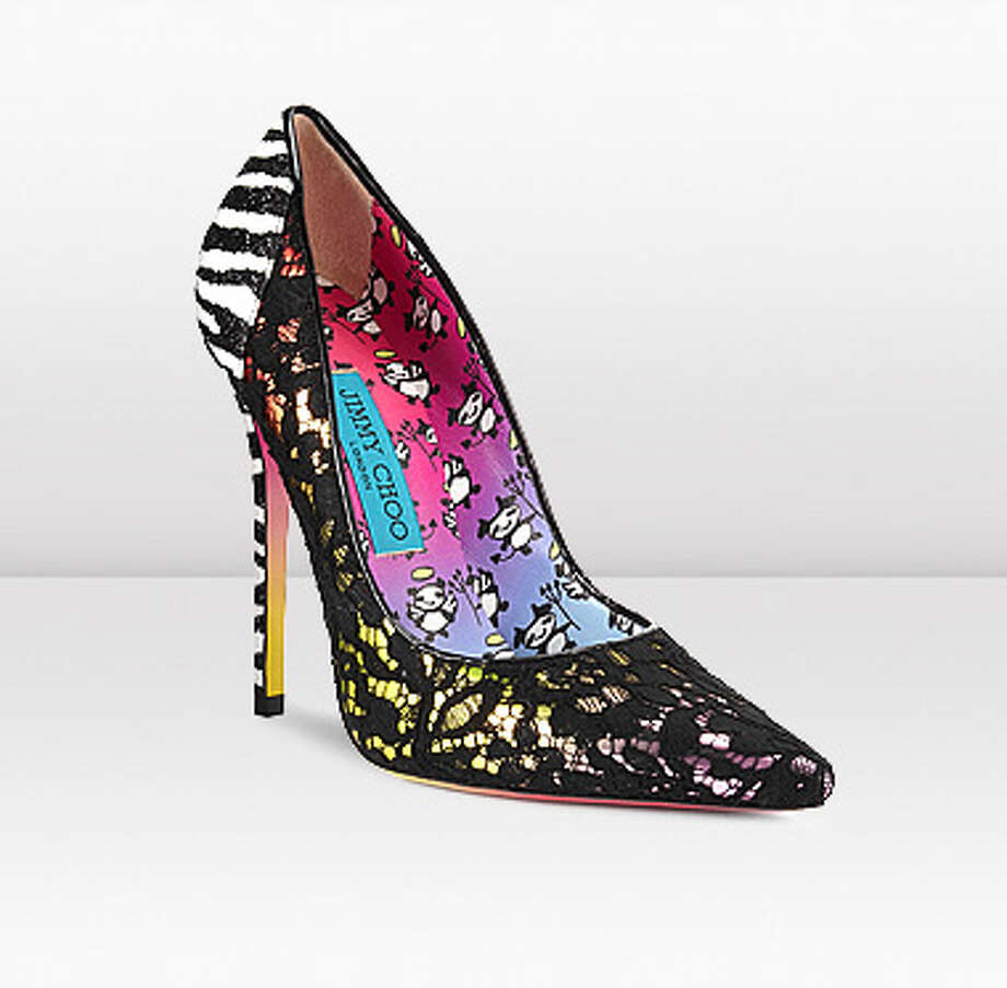 "Jimmy Choo ""Anouk"" pump as re-imagined by artist Rob Pruitt. $950.00"