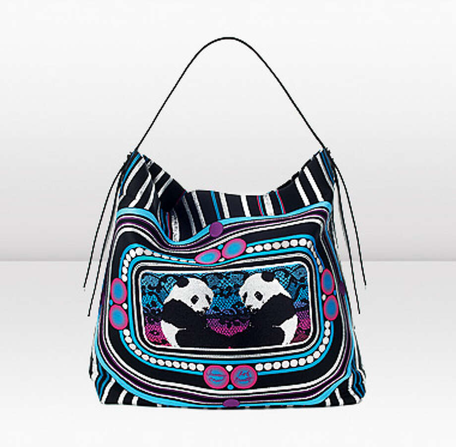 """Ling-Ling"" tote by artist Rob Pruitt for Jimmy Choo in jacquard, $1225.00"