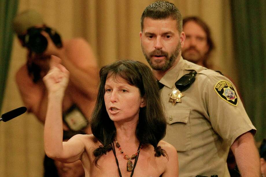 Protester Gypsy Taub speaks out against the Board of Supervisors decision to ban public nakedness at City Hall in San Francisco, Tuesday, Nov. 20, 2012. Photo: Jeff Chiu, Associated Press / AP