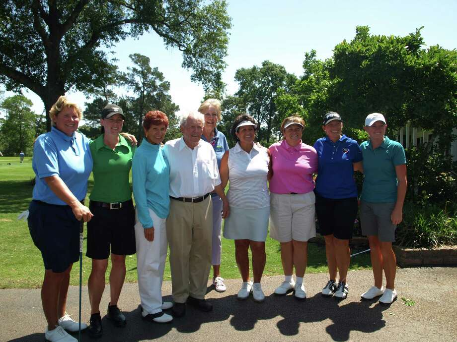 From left are Amy Read, Katie Futcher, Donna Caponi, Champions' Jack Burke Jr., event host Carol Mann, Nancy Lopez, Kate Golden, Angela Stanford and Stacy Lewis.     Photo Credit: Mike Bailey