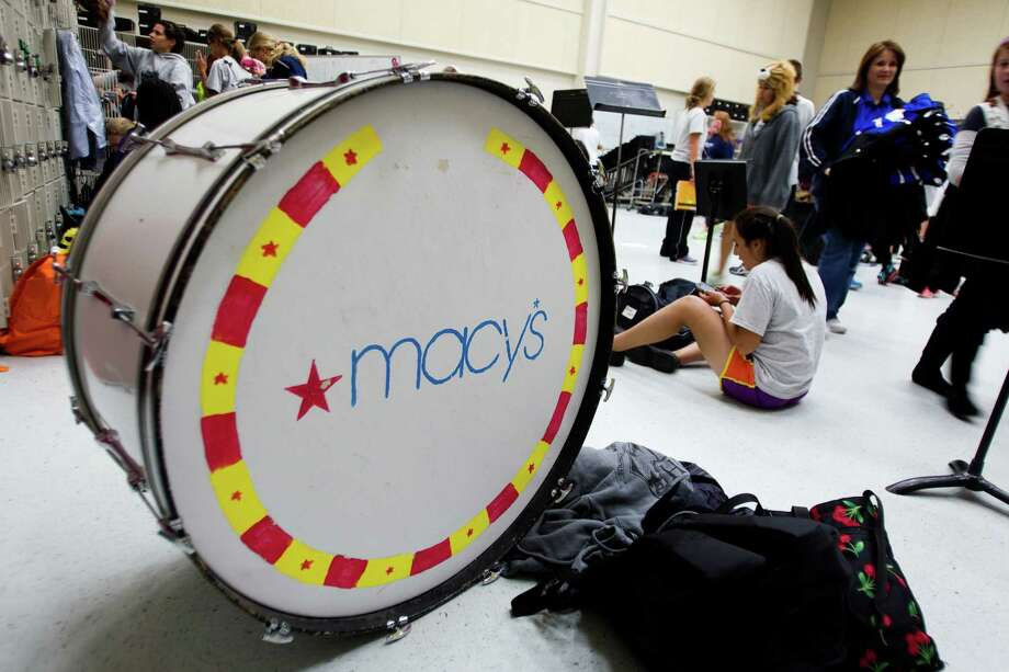A bass drum, with a Macy's logo painted on it, sits in the Oak Ridge High School band hall following rehearsals Tuesday, Nov. 13, 2012, in Houston. Photo: Brett Coomer, Houston Chronicle / © 2012 Houston Chronicle