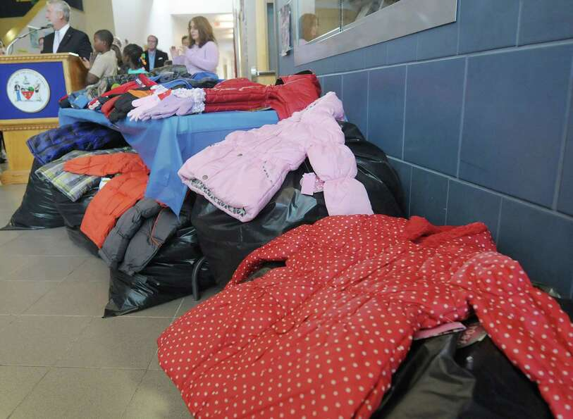 Coats for children are on display during a ?Mayor?s Cash for Coats Drive? event at Sheridan Preparat