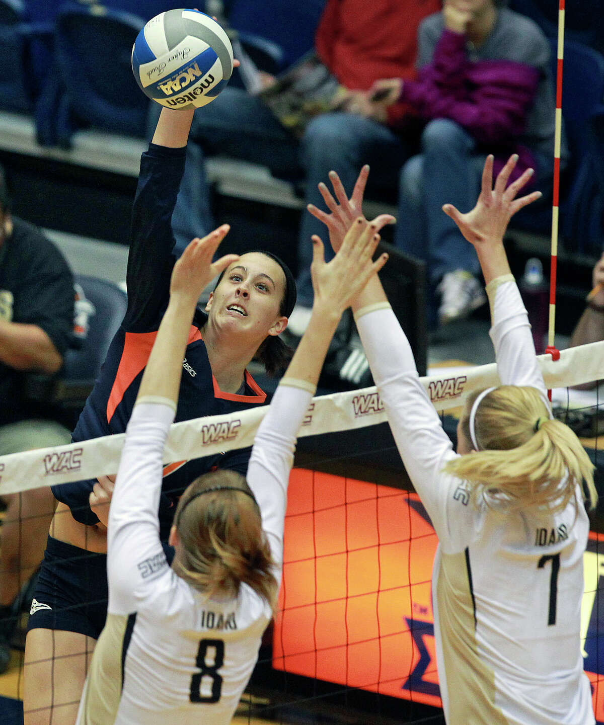 McKenzie Adams spikes for the Runners as Idaho beats UTSA 3-2 in the semifinals of the WAC volleyball tournament at the UTSA Convocation Center on November 20, 2012.