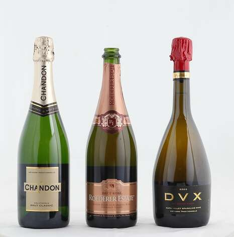 Left-right: Chandon California Brut Classic Roederer Estate Brut Rose Mumm Napa DVX  as seen in San Francisco, California, on Tuesday, November 20, 2012. Photo: Craig Lee, Special To The Chronicle