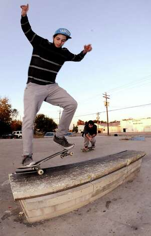 Bryan Seymour, 21, skateboards at a local skate spot on 4th Street in Beaumont on November, 20, 2012. Photo taken: Randy Edwards/The Enterprise