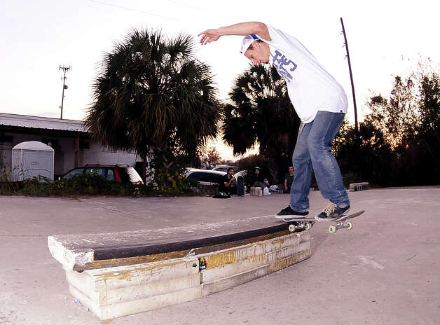 Aaron Schexnyder, 24, skateboards at a local skate spot on 4th Street in Beaumont on November, 20, 2012. Photo taken: Randy Edwards/The Enterprise