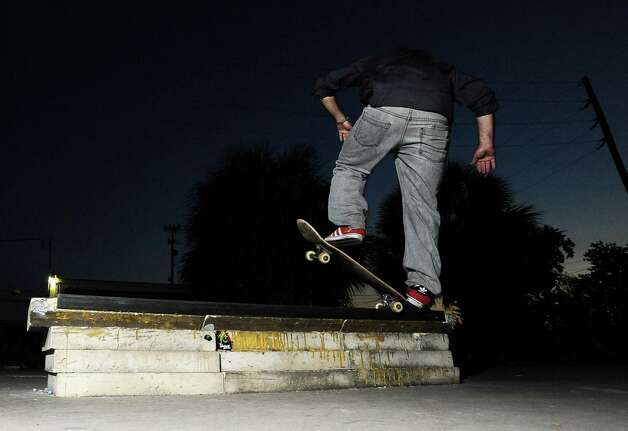 Justin O'Neill, 28, skateboards at a local skate spot on 4th Street in Beaumont on November, 20, 2012. Photo taken: Randy Edwards/The Enterprise