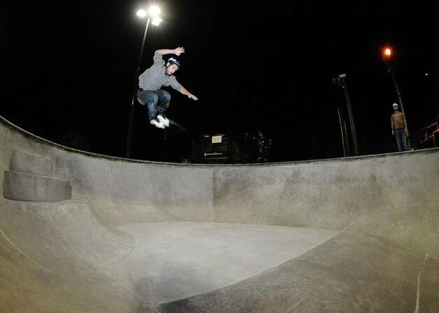Houston native Eric Balle, 23, rollerblades at the Lee and Joe Jamail Skatepark in Houston, Texas on Thursday, November 1, 2012. Courtesy photo by: Randy Edwards