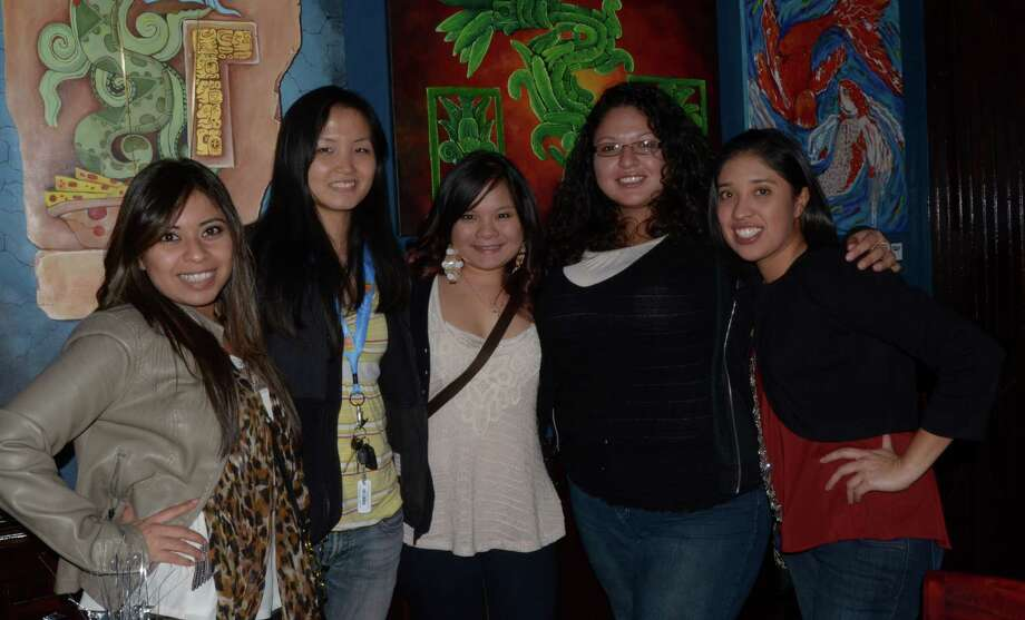 Bianca Purieda (cq) (from left), Jessica Wong, Tracy Chan, Jessica Salazar and Estephanie Gonzales (cq) have a birthday celebration at Raffles on November 16, 2012. Robin Johnson Photo: Robin Johnson