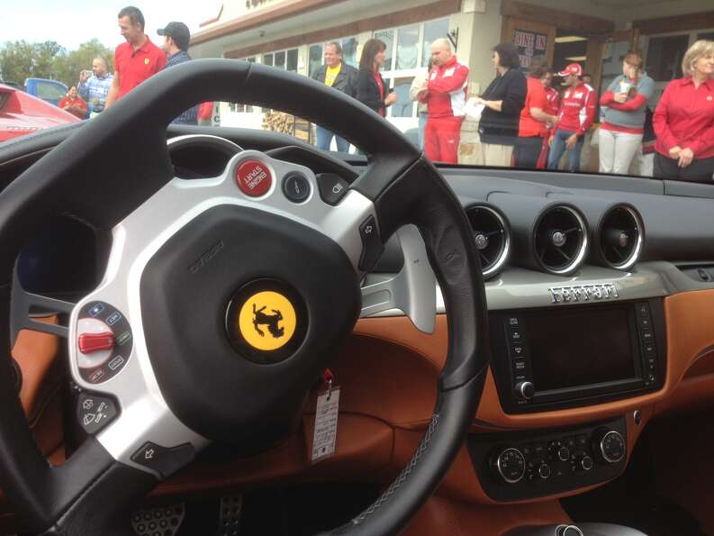 The view from behind the wheel of a Ferrari FF, the company's touring option.