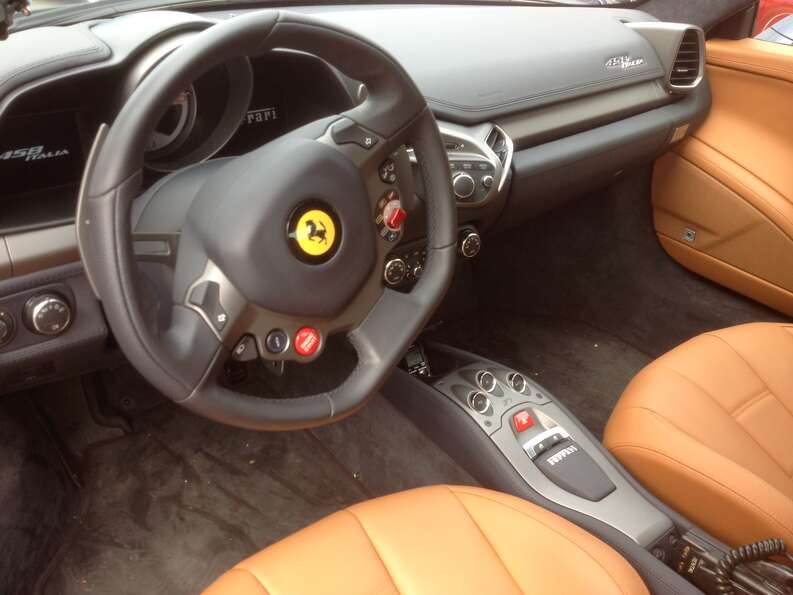 A view of the interior of a Ferrari.
