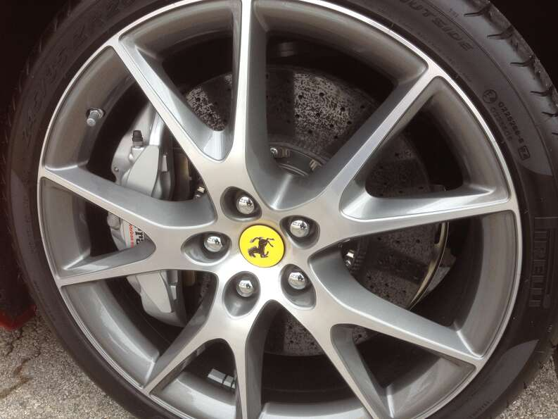 Ferrari uses ceramic brakes that allow drivers more braking power than more conventional steel or al