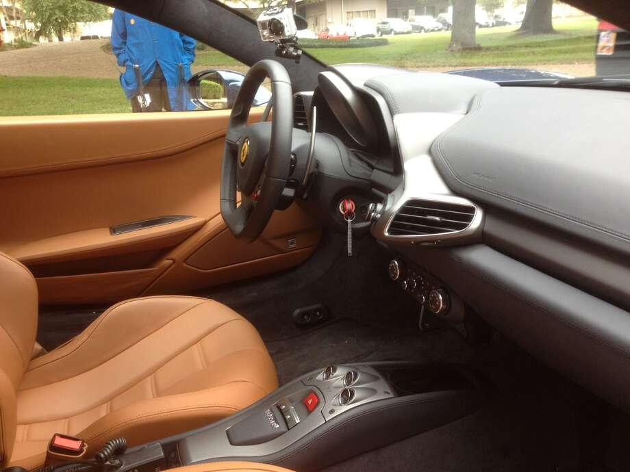 The interior of a Ferrari 458 Coupe. Photo: Dan X. McGraw