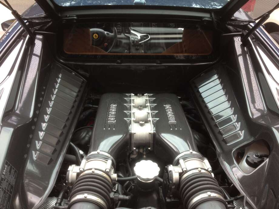 A view of the car's 8-cylinder engine that can top out at more than 200 mph. Photo: Dan X. McGraw