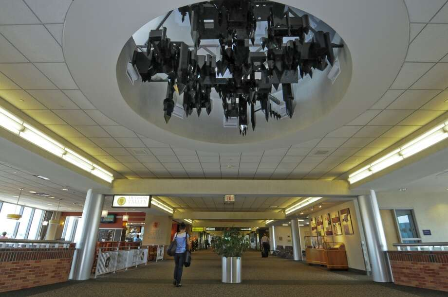 "Artist Lee Boroson's ""Tracted Formation,"" installed in the ceiling of  the Albany International Airport's passenger terminal on Wednesday June 20, 2012 in Colonie, NY. (Philip Kamrass / Times Union) (Albany Times Union)"