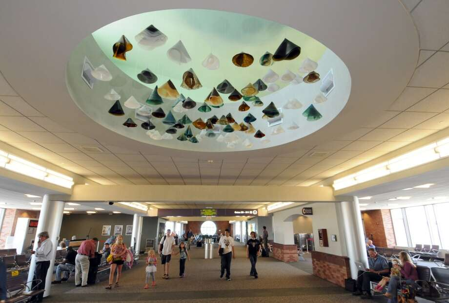 "Artist Claire Sherwood's ""Horizon Sample,"" installed in the ceiling of  the Albany International Airport's passenger terminal on Wednesday June 20, 2012 in Colonie, NY. (Philip Kamrass / Times Union) (Albany Times Union)"