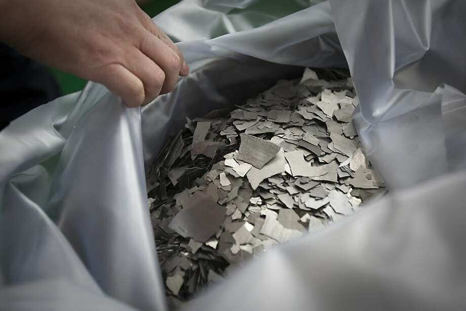 Refined neodymium from China, to be used in high-powered magnets. Photo: Nelson Ching, Bloomberg