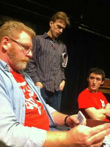 "David Connelly, Ross Olsaver and Cristopher Boneta rehearse AtticRep's ""American Buffalo."" Courtesy Rick Frederick Photo: Courtesy Rick Frederick"