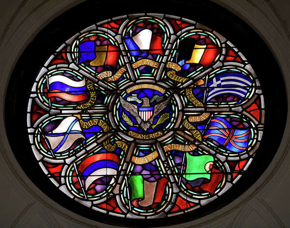 One of eight stained glass window at the Temple to the Brave. The Temple will be open to the public on Memorial day. Photo taken Thursday, May 24, 2012