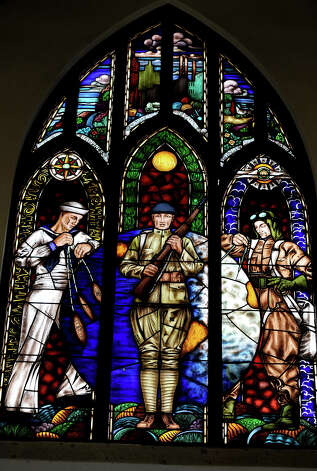 One of eight stained glass window at the Temple to the Brave. The Temple will be open to the public on Memorial day. Six of the art pieces recognize the six flags that have flown over Texas. Photo taken Thursday, May 24, 2012 Guiseppe Barranco/The Enterprise Photo: Guiseppe Barranco, STAFF PHOTOGRAPHER / The Beaumont Enterprise