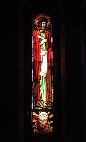 Stained glass window of Saint Mark that is over in Saint Mark's Episcopal Church.  Photo by DR and shot 7/24/2003 Photo: Dave Ryan, Assistant Photo Editor / The Beaumont Enterprise