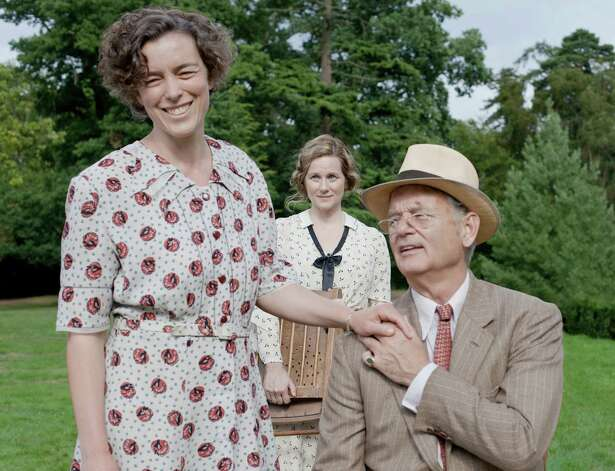 "Olivia Williams as Eleanor, left, Laura Linney as Daisy and Bill Murray as Franklin D. Roosevelt in Roger Michell's historical tale ""Hyde Park On Hudson,"" a Focus Features release. Photo: Nicola Dove / ©Focus Features"