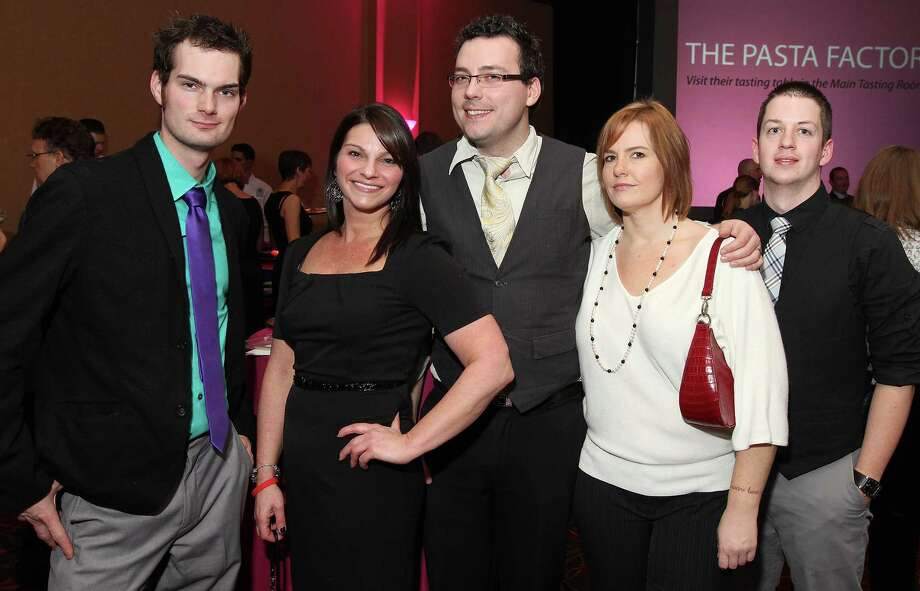 Troy, NY - November 15, 2012 - (Photo by Joe Putrock/Special to the Times Union) - (l to r) Ben Legacy, Anissa Hochberg, Rick Marchant, Sarah Joy and Nate Smolinsky during the 2012 Beaujolais Nouveau Wine Celebration presented by All Star Wine & Spirits to benefit The AIDS Council of Northeastern New York. Photo: Joe Putrock